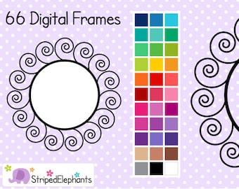 Swirl Digital Frames - Clip Art Frames - Instant Download - Commercial Use