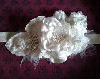 Handmade flower beaded bridal velvet sash - Harlow design