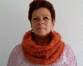 Very warm mohair infinity handknitted shawl / cowl / scarf