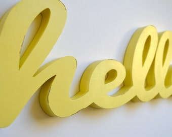 Hello Sign - Wood Word - Cut Out