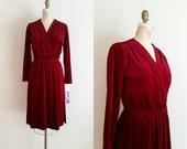 Vintage 1970s Dress / Raspberry Velvet Velour / Medium / Tags Still Attached