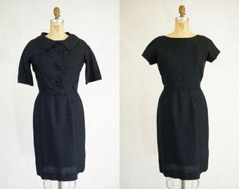 Vintage 1960s Dress and Jacket / Samuel Grossman / Skirt Suit / Navy Blue