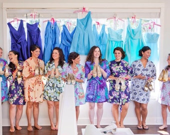 Six Bridesmaid Robes. Bridesmaids Robes. Bridal Robes. Kimono Robe. Kimono. Wedding Gift. Choose Your Fabrics. Assorted Prints. Knee Length.