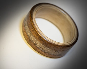 Walnut/sand bentwood ring ready to ship