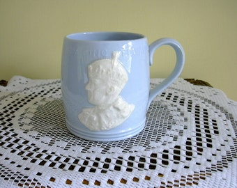 Vintage Coronation Cup Mug King Edward Vlll Eighth Abdication 1936 Mrs Simpson Unusual Cameo Style Design by Johnson Brothers