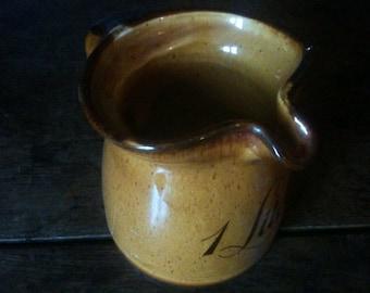 Vintage German 1 Liter Litre ceramic milk cream water pouring jug pitcher circa 1960's / English Shop