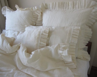 Ivory Oatmeal linen ruffled Bedding Twin XL Queen KING duvet cover with pillow cases Buldan fabric Turkish chic country style by Nurdanceyiz