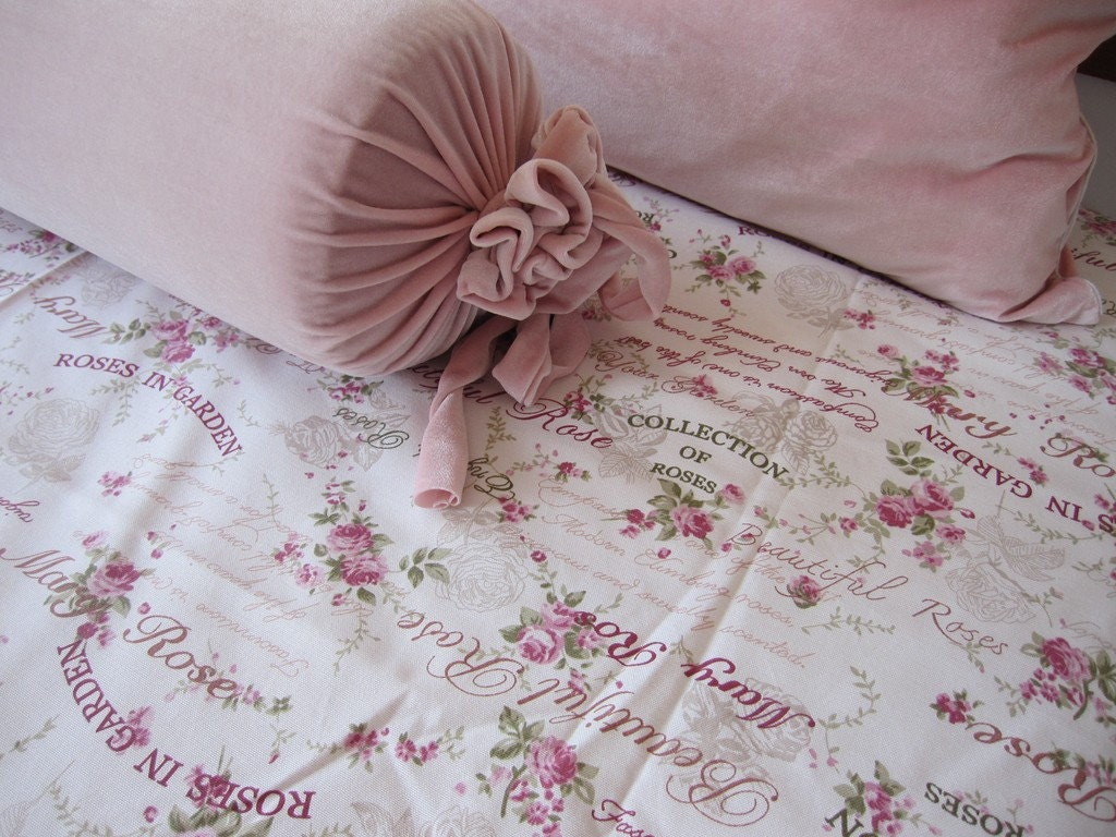 Shabby Chic Bedding TWIN Bed Spread Pink Mary Roses Print