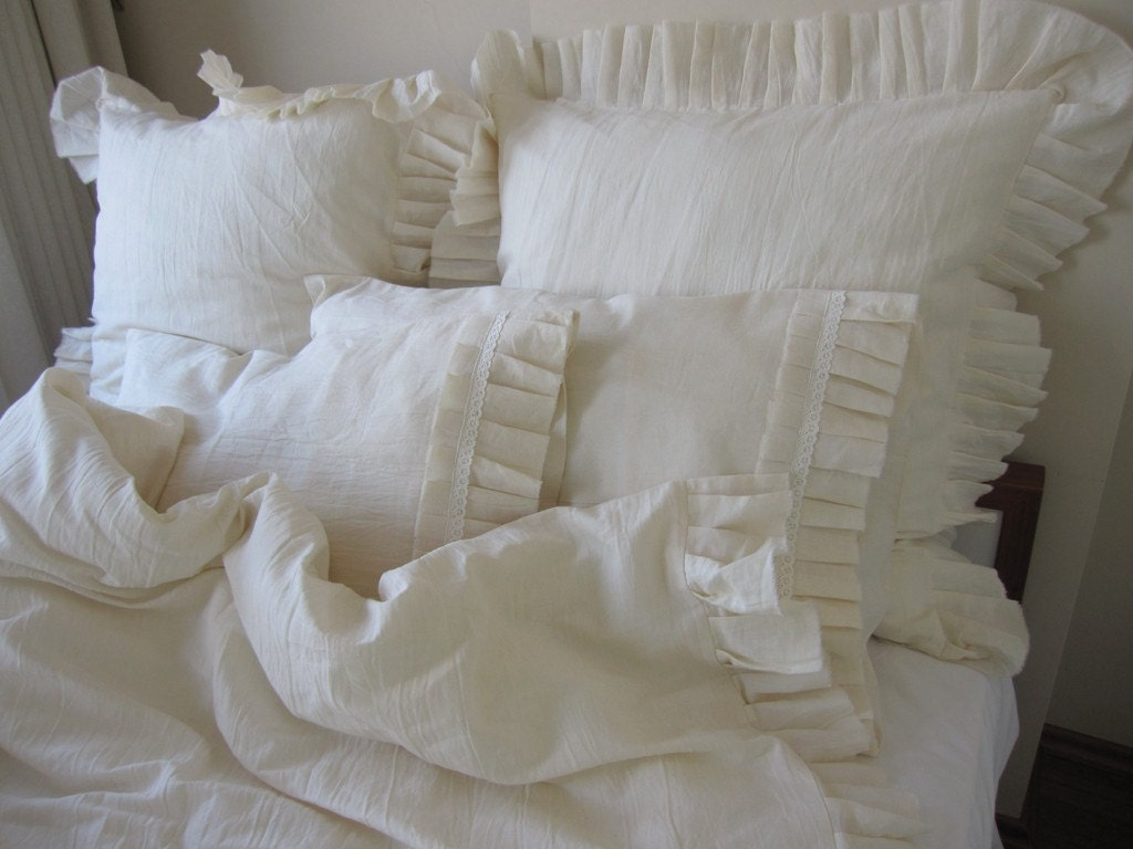 Ivory Oatmeal Linen Ruffled Bedding Twin Xl Queen King Duvet