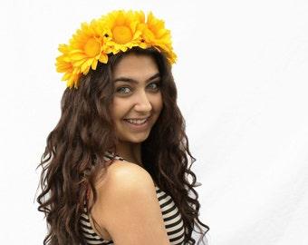 Sunflower Headband - EDC, Large Yellow Daisy Crown, Sunflower Headpiece, Sunflower Headdress, Flower Crown, Hippie Headband