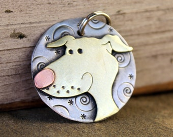 Greyhound Dog Tag - Dog ID Tag - Pet Tag - Dog Tags Custom-Greyhound or Whippet- breed tag or key chain