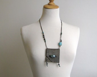 small leather treasure medicine boho pouch necklace - hippie boho grey and turquoise necklace - gypsy necklace - talisman - grey suede