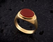 Red carnelian gold ring signet gold plated ring,Geometric ellipse shape,Minimalistic and clean style,Gold and red,ring for men,bohemian.