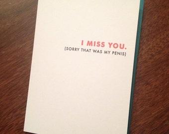 I Miss You! Thinking of You Card. Humor Card. Love Card. Flirt Card. Naughty Card.