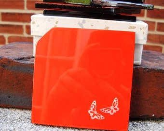 5 Orange Lacquer Ware Coasters butterfly