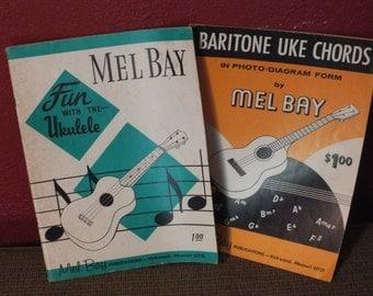 2 Vintage Mel Bay Publications - Fun With The Ukulele and Baritone Uke Chords in Photo Diagram Form