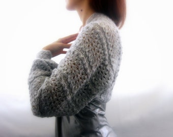 Lace Shrug with long sleeves in light gray color . Handmade Mohair Knitting