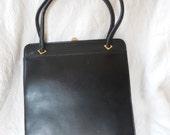 Vintage Dofan Handbag French Purse Retro Chic Mad Man Accessory - Vintage 60's Black Leather Purse - Mad Men Purse - Ready to Ship