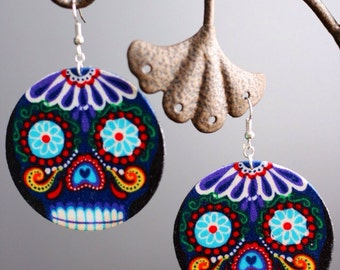 Purple Sugar skull / day of the dead (Dia de Los muertos) Earrings