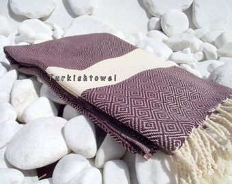 Turkishtowel-2014 Spring Collection-Hand woven,20/2 cotton warp and weft,Diamond Turkish Bath,Beach Towel-Deep Burgundy,natural cream