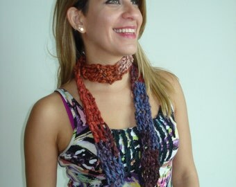 Small Handmade Pumpkin Spice Crochet Cowl in a funky Fall mix of Brown/Blue/Khaki and Orange.
