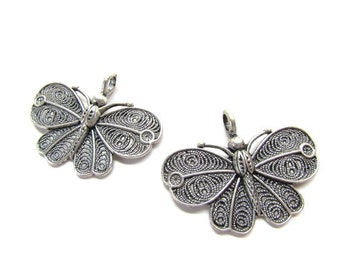 2 Large Ornate Butterfly Pendants / Ox Silver