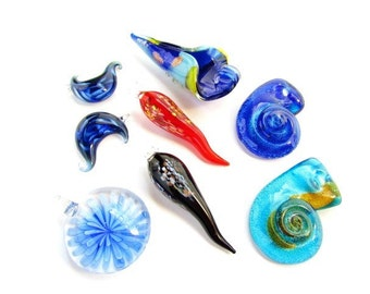 8 Lampworked Glass Focal Pendants