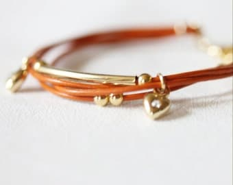 Mini Heart Charm and Ball Ornament Leather Bracelet(Orange)
