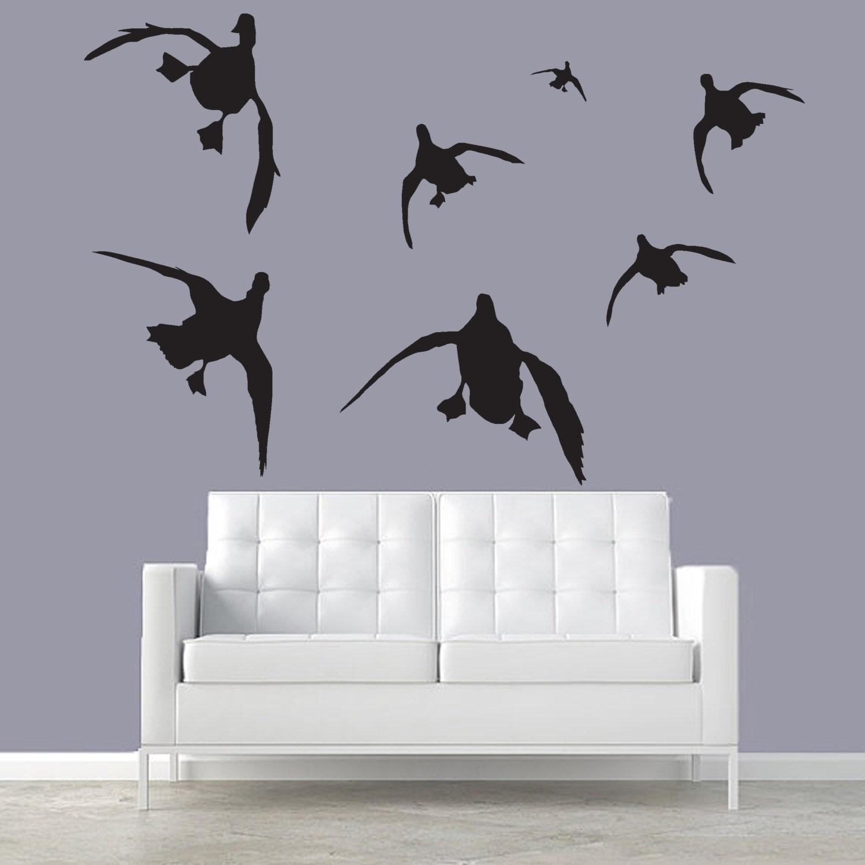 Mallard wall decal silhouettes cupped mallard ducks living for Duck hunting mural