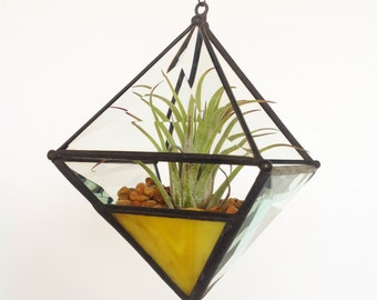 Pyramid Beveled Glass Orb Air Plant Planter with Yellow Accent.
