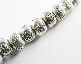 10 of Karen Hill Tribe Silver Ohm Imprint Beads 6x4.3 mm. :ka3658