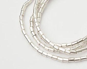 150 of Karen Hill Tribe Silver  Tubular Beads 1.5x2 mm., 13.5 inches / string  :ka3697