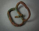 Antique brass belt buckle, dark patina