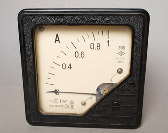 Antique big Amperemeter, black bakelite case, 1950