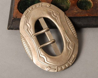 Antique huge metal belt buckle, beginning of 20 th century