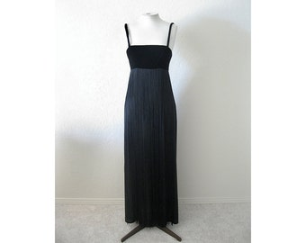Sale - Empire Style Gown with X Long Fringe . . Edwardian Vamp Goth Goddess