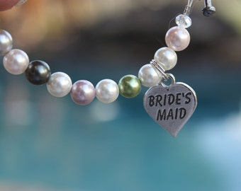 Brides Maid Bracelet in Colorful Pearls Sterling Silver Heart Charm and Toggle Clasp.