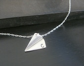 Sterling Silver Matte Personalized Hand Stamped Paper Plane Necklace  Bridal Bridesmaids Birthday Christmas Gift  Airplane Necklace
