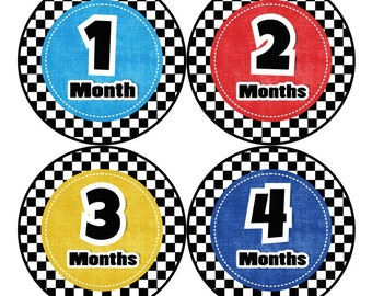 1st Year Baby Month Stickers, PLUS Just Born Sticker, Baby Boy Milestone Stickers, Monthly Bodysuit Sticker, Checkers Red Blue Yellow 002B
