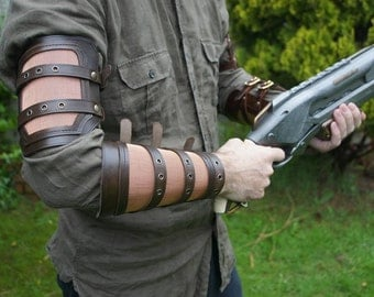 Leather and Mesh Bicep and Forearm Bracer Set