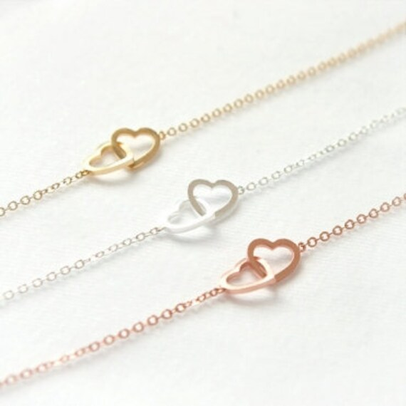 Two Open Heart Bracelet / Choose your color / gold, silver and pink gold