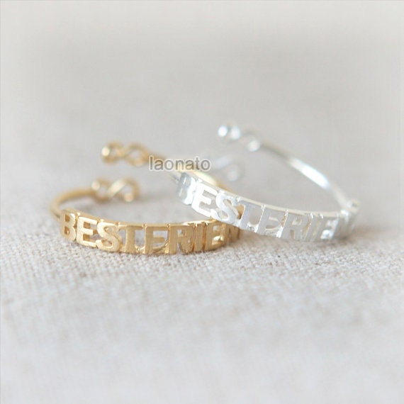 bestfriends word ring in silver by laonato on etsy