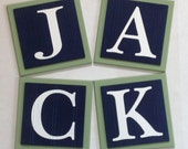 Baby Boy Nursery, Name Blocks, Wall Letters Room Decor, 6 x 6 Personalized Wooden Plaques Painted Navy Blue and Green Custom Gifts