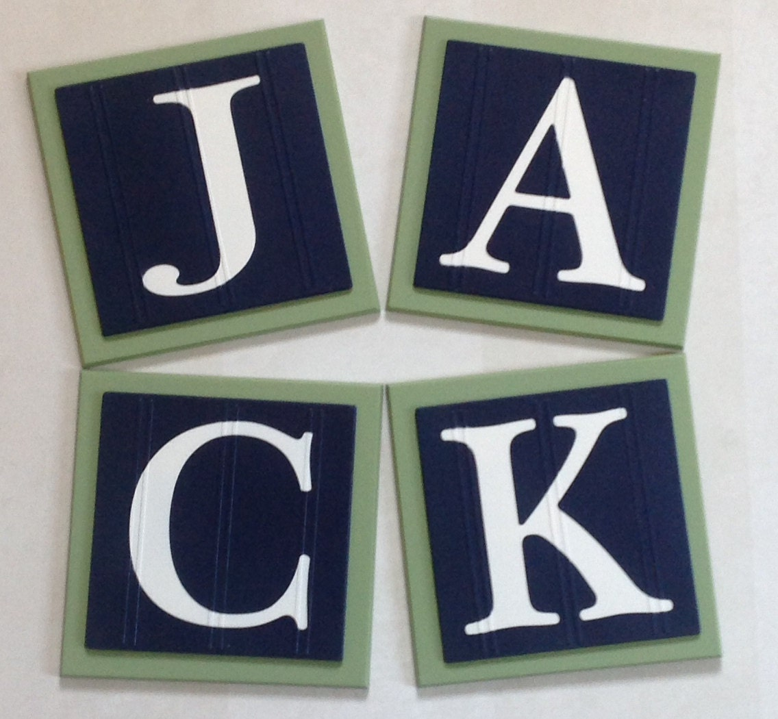 Wall Decor Block Letters : Baby boy nursery name blocks wall letters room decor