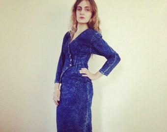 80's Sexy Fitted Acid Wash Denim Dress sm/medium