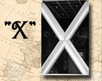 Letter X Alphabet Photography Black and White or Sepia 4 x 6 Photo Letter Unframed
