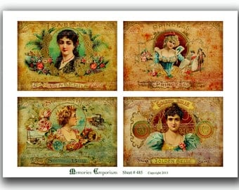 Cigar Box Label Shabby Lid Antique Tobacco Old Packaging Postcard size Decoupage for Journals and Scrapbooking Collage Sheet 485