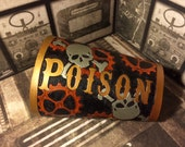 Poison Leather Cuff Bracer - Handcrafted - Large - ON SALE Steampunk Wasteland Renaissance Sky Pirate Skull Crossbones