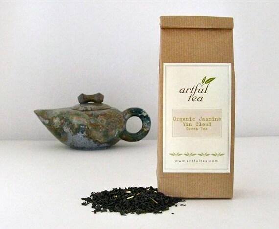 Jasmine Yin Cloud Organic Green Tea • 4 oz. Kraft Bag • Hand Blended Loose Leaf Tea • Fragrant Jasmine Blossoms