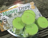 Money Draw  Natural Blend Soy Tea Lights - 9  for Spellcasting, Magick, Meditation and Ritual